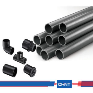 black PVC conduit pipe and Accessories